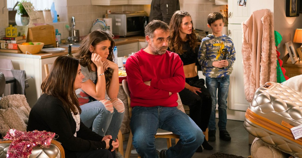 FROM ITV  STRICT EMBARGO - No Use Tuesday  31 January 2017 Coronation Street - Ep 9095 Monday 6 February 2016 - 2nd Ep Explaining that they have reason to believe there are illegal drugs in the house, the police search Rosie Webster [HELEN FLANNAGHAN] and Sophie WebsterÕs [BROOKE VINCENT] luggage. What has Rosie been caught up in? Kevin Webster [MICHAEL LE VELL] admits to Sophie heÕs in financial straits because of her medical bill, the loss of the tow truck and the fire at the garage. Sophie feels terrible.  Picture contact: david.crook@itv.com on 0161 952 6214 Photographer - Mark Bruce This photograph is (C) ITV Plc and can only be reproduced for editorial purposes directly in connection with the programme or event mentioned above, or ITV plc. Once made available by ITV plc Picture Desk, this photograph can be reproduced once only up until the transmission [TX] date and no reproduction fee will be charged. Any subsequent usage may incur a fee. This photograph must not be manipulated [excluding basic cropping] in a manner which alters the visual appearance of the person photographed deemed detrimental or inappropriate by ITV plc Picture Desk. This photograph must not be syndicated to any other company, publication or website, or permanently archived, without the express written permission of ITV Plc Picture Desk. Full Terms and conditions are available on the website www.itvpictures.com