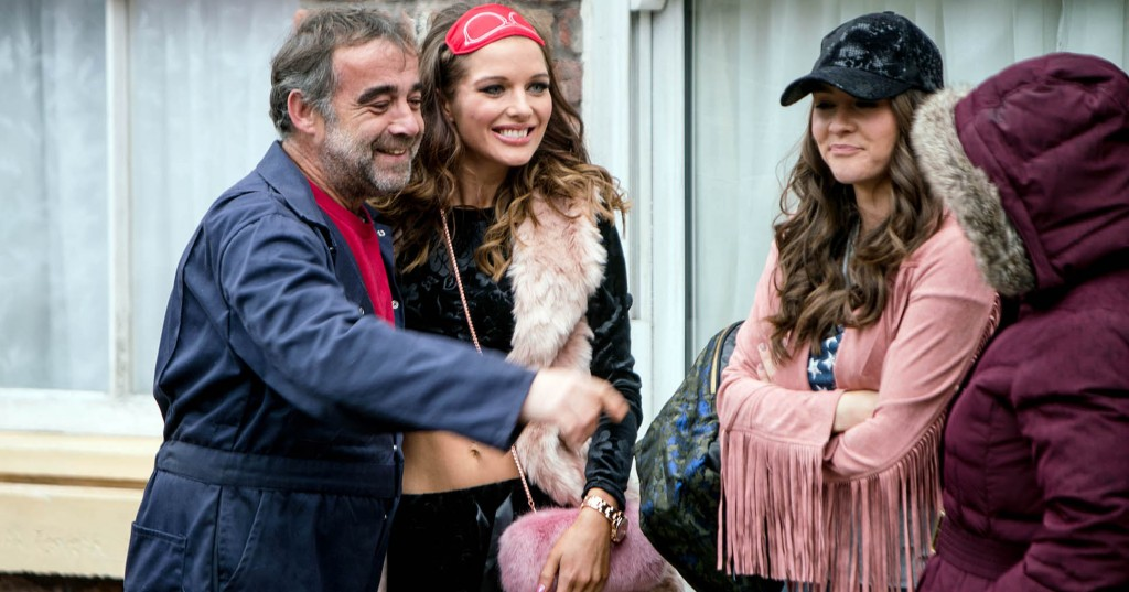 FROM ITV  STRICT EMBARGO - No Use Tuesday 31 January 2017 Coronation Street  Monday 6 February 2016 - 1st Ep Sophie Webster [BROOKE VINCENT] arrives home from Miami and dragging Kevin Webster [MICHAEL LE VELL] outside, tells him she's brought him a surprise. Kevin's thrilled when Rosie Webster [HELEN FLANNAGHAN] emerges from the taxi. As Rosie drags her vast amount of luggage into the house she talks nonstop nonsense. Kevin and Sophie are amused whilst Anna Windass [DEBBIE RUSH] wonders what's hit her.  Picture contact: david.crook@itv.com on 0161 952 6214 Photographer - Mark Bruce This photograph is (C) ITV Plc and can only be reproduced for editorial purposes directly in connection with the programme or event mentioned above, or ITV plc. Once made available by ITV plc Picture Desk, this photograph can be reproduced once only up until the transmission [TX] date and no reproduction fee will be charged. Any subsequent usage may incur a fee. This photograph must not be manipulated [excluding basic cropping] in a manner which alters the visual appearance of the person photographed deemed detrimental or inappropriate by ITV plc Picture Desk. This photograph must not be syndicated to any other company, publication or website, or permanently archived, without the express written permission of ITV Plc Picture Desk. Full Terms and conditions are available on the website www.itvpictures.com