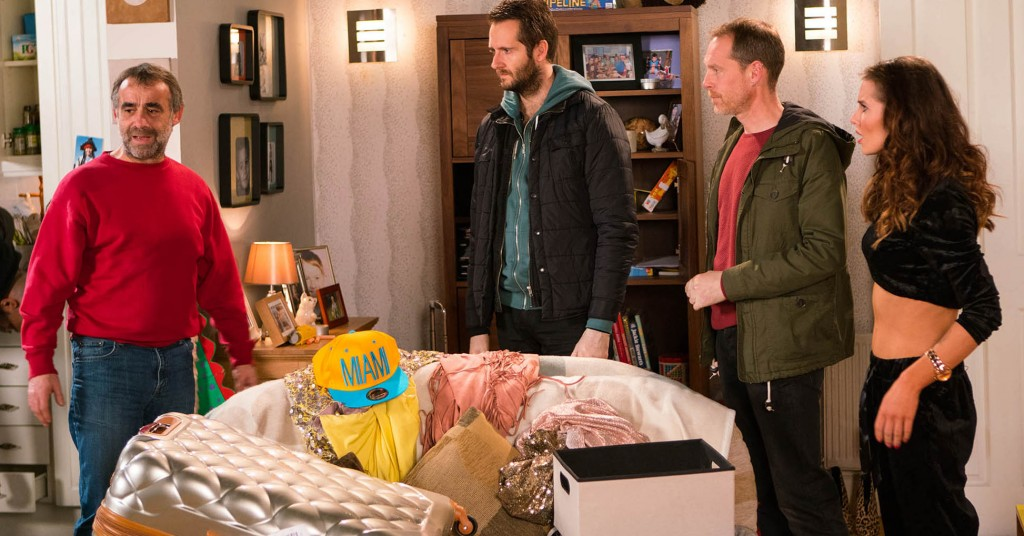 FROM ITV  STRICT EMBARGO - No Use Tuesday  31 January 2017 Coronation Street - Ep 9095 Monday 6 February 2016 - 2nd Ep Explaining that they have reason to believe there are illegal drugs in the house, the police search Rosie Webster [HELEN FLANNAGHAN] and Sophie Webster's [BROOKE VINCENT] luggage. What has Rosie been caught up in? Kevin Webster [MICHAEL LE VELL] admits to Sophie he's in financial straits because of her medical bill, the loss of the tow truck and the fire at the garage. Sophie feels terrible.  Picture contact: david.crook@itv.com on 0161 952 6214 Photographer - Mark Bruce This photograph is (C) ITV Plc and can only be reproduced for editorial purposes directly in connection with the programme or event mentioned above, or ITV plc. Once made available by ITV plc Picture Desk, this photograph can be reproduced once only up until the transmission [TX] date and no reproduction fee will be charged. Any subsequent usage may incur a fee. This photograph must not be manipulated [excluding basic cropping] in a manner which alters the visual appearance of the person photographed deemed detrimental or inappropriate by ITV plc Picture Desk. This photograph must not be syndicated to any other company, publication or website, or permanently archived, without the express written permission of ITV Plc Picture Desk. Full Terms and conditions are available on the website www.itvpictures.com